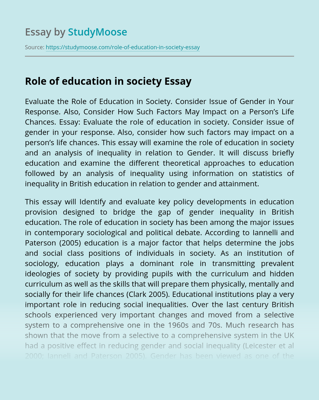 Role of education in society