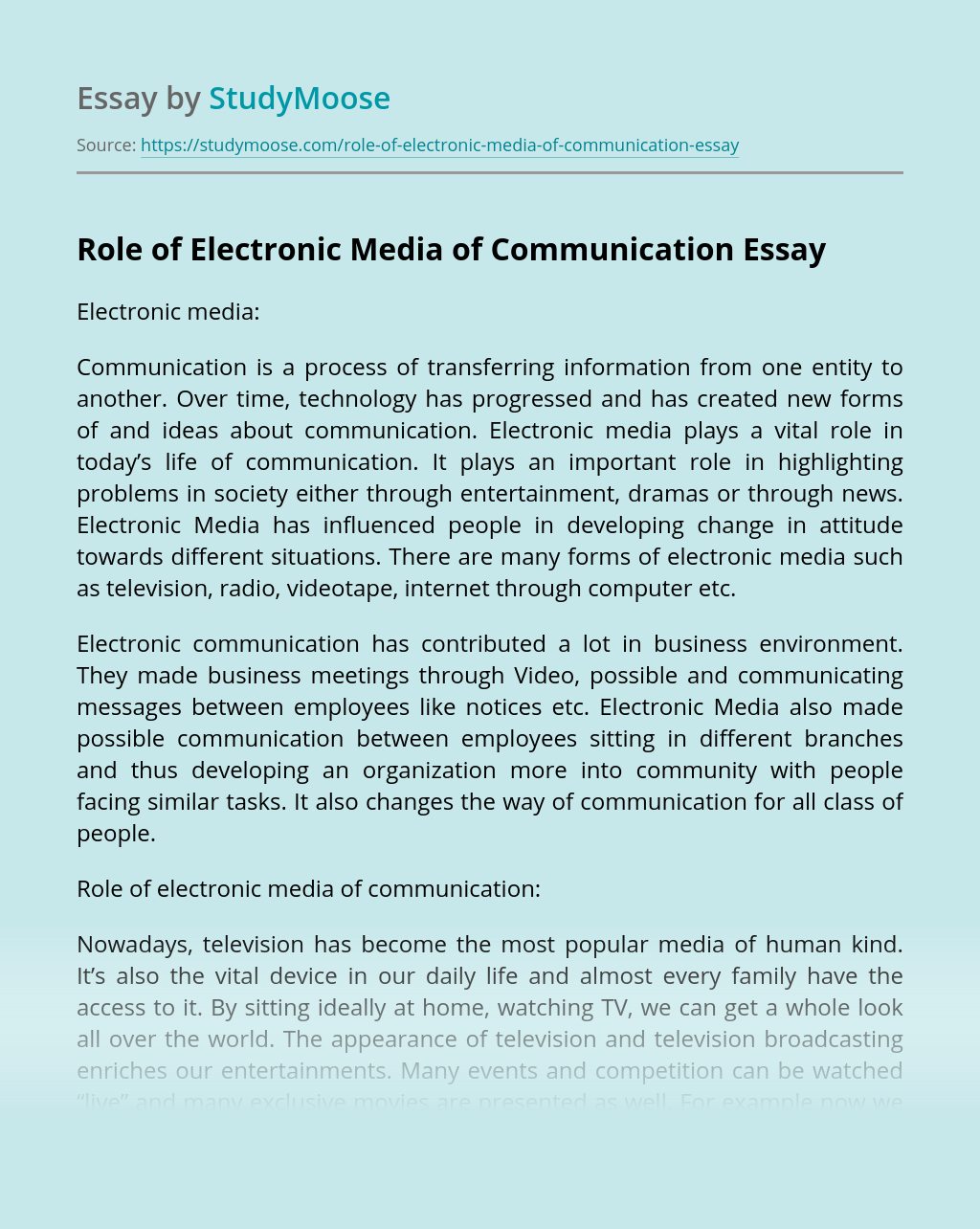 Role of Electronic Media of Communication