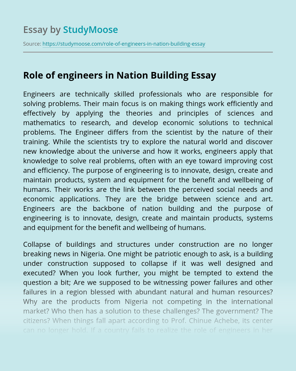 Role of engineers in Nation Building