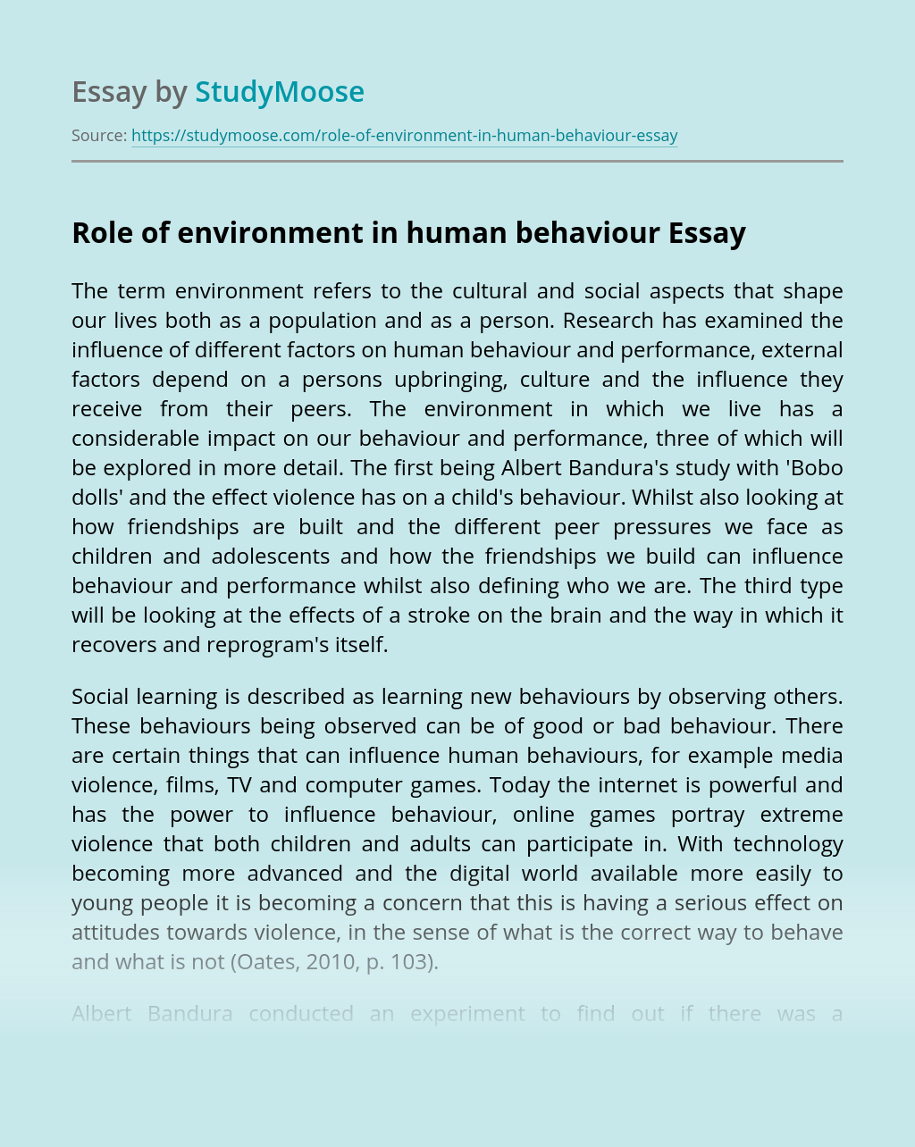 Role of environment in human behaviour