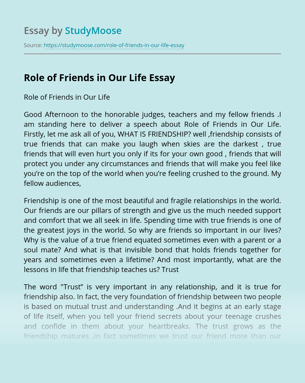 Role of Friends in Our Life