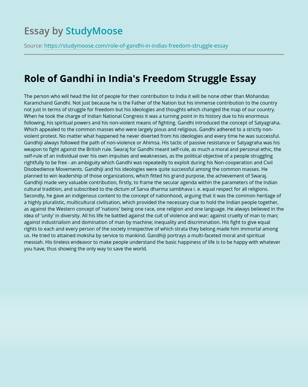 Role of Gandhi in India's Freedom Struggle