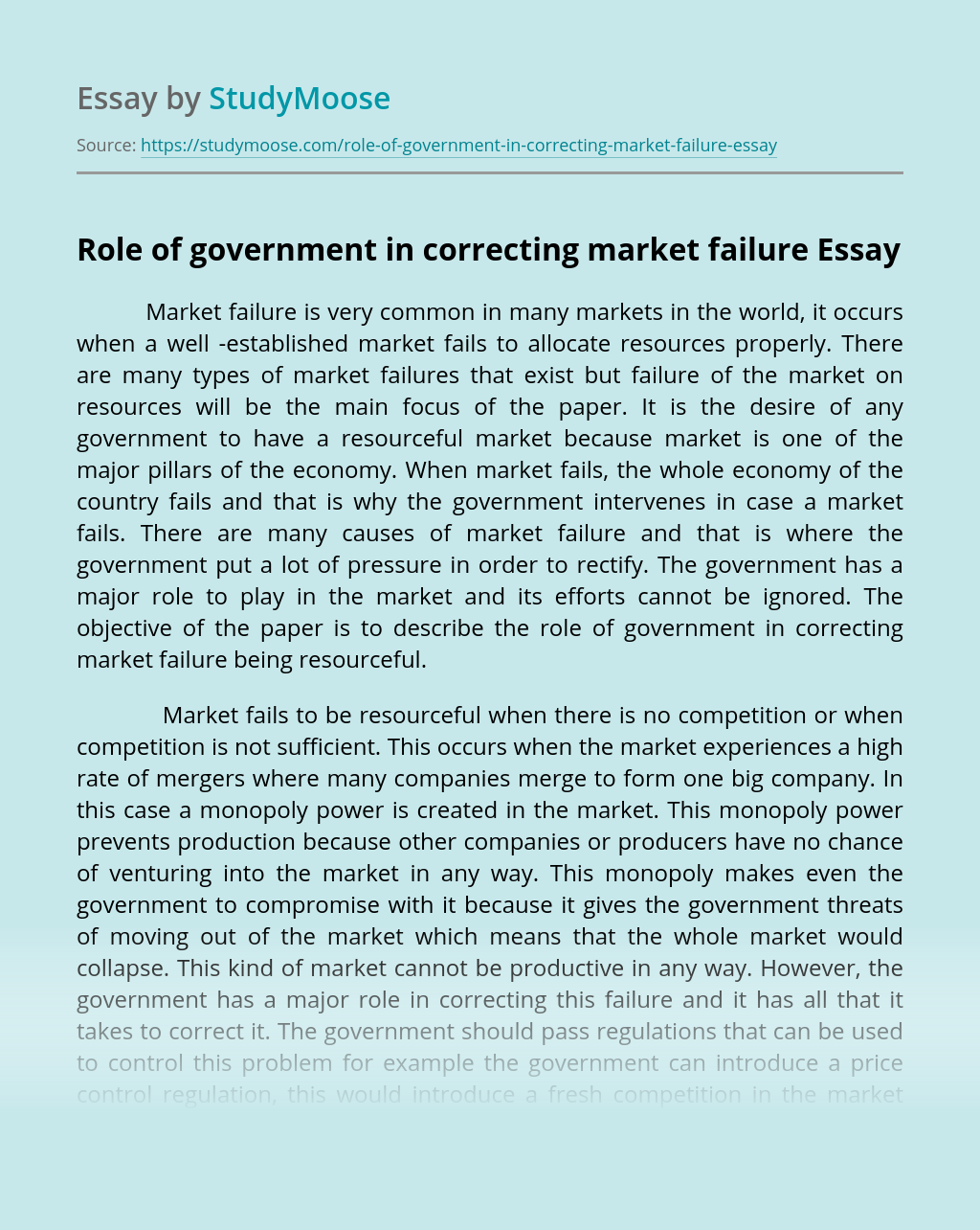 Role of government in correcting market failure