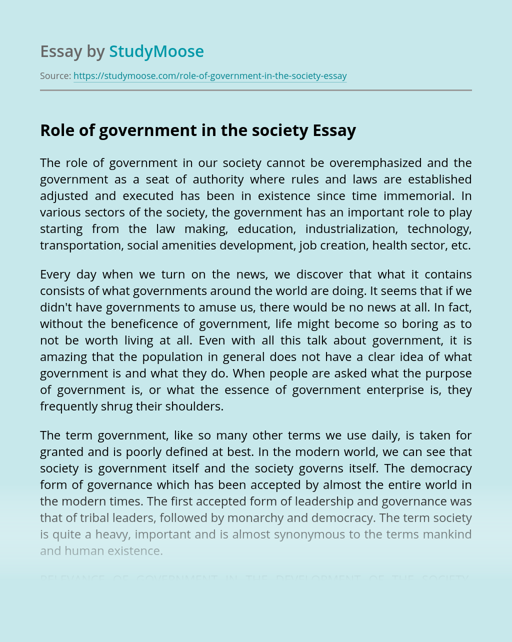 Role of government in the society