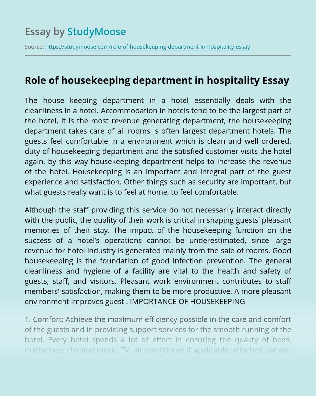 Role of housekeeping department in hospitality