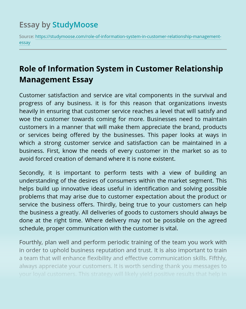 Role of Information System in Customer Relationship Management