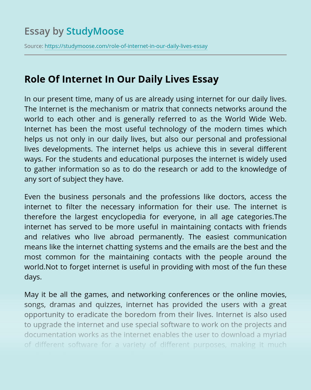 Role Of Internet In Our Daily Lives