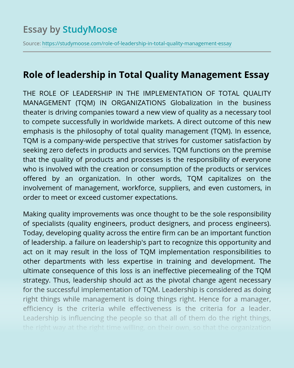 Role of leadership in Total Quality Management