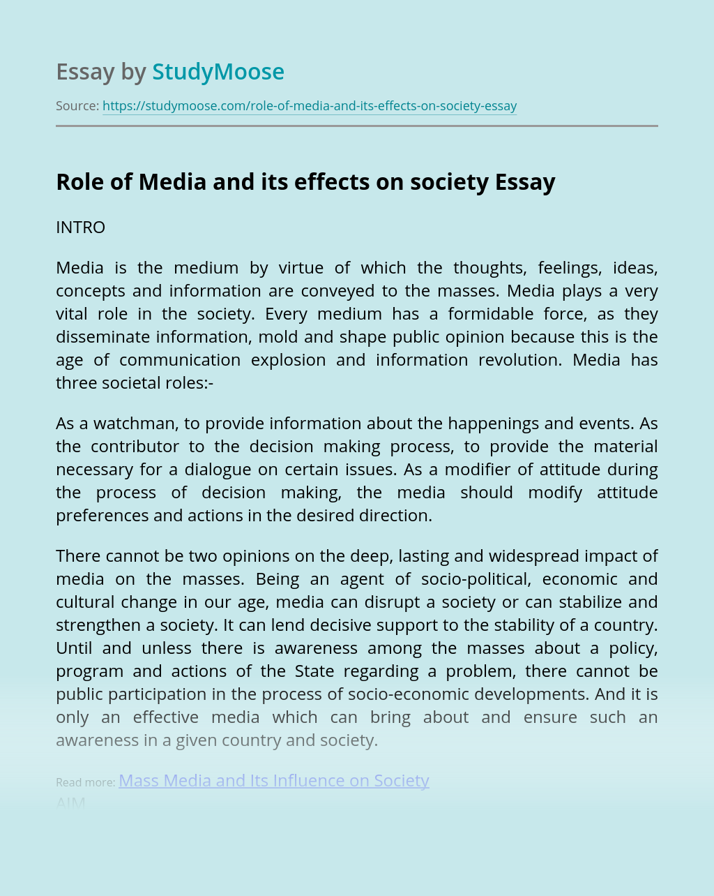 Media impact essay texas common application essay topics 2011