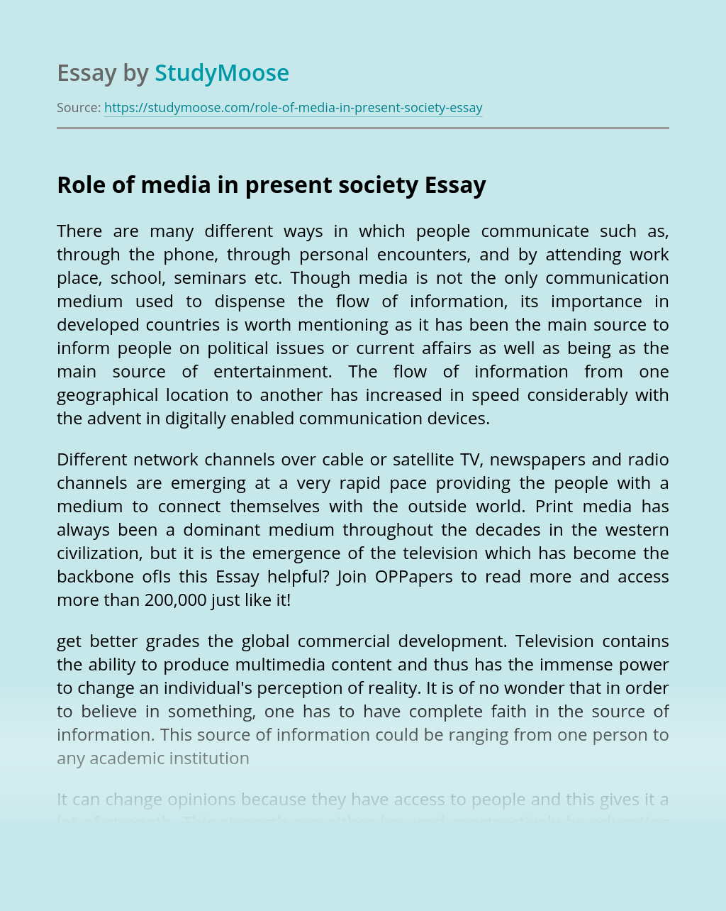 Role of media in present society