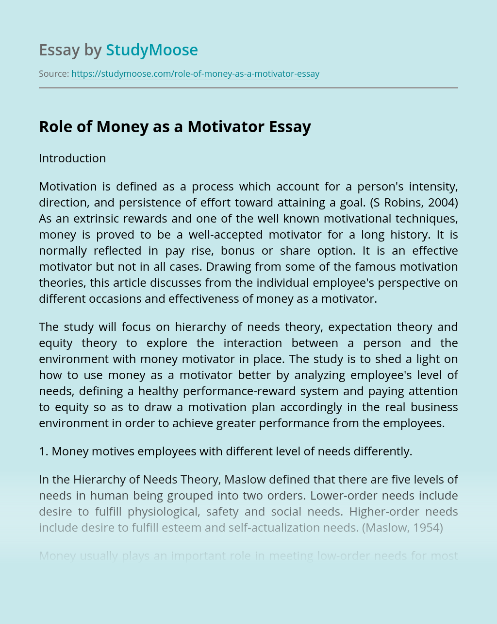 Role of Money as a Motivator