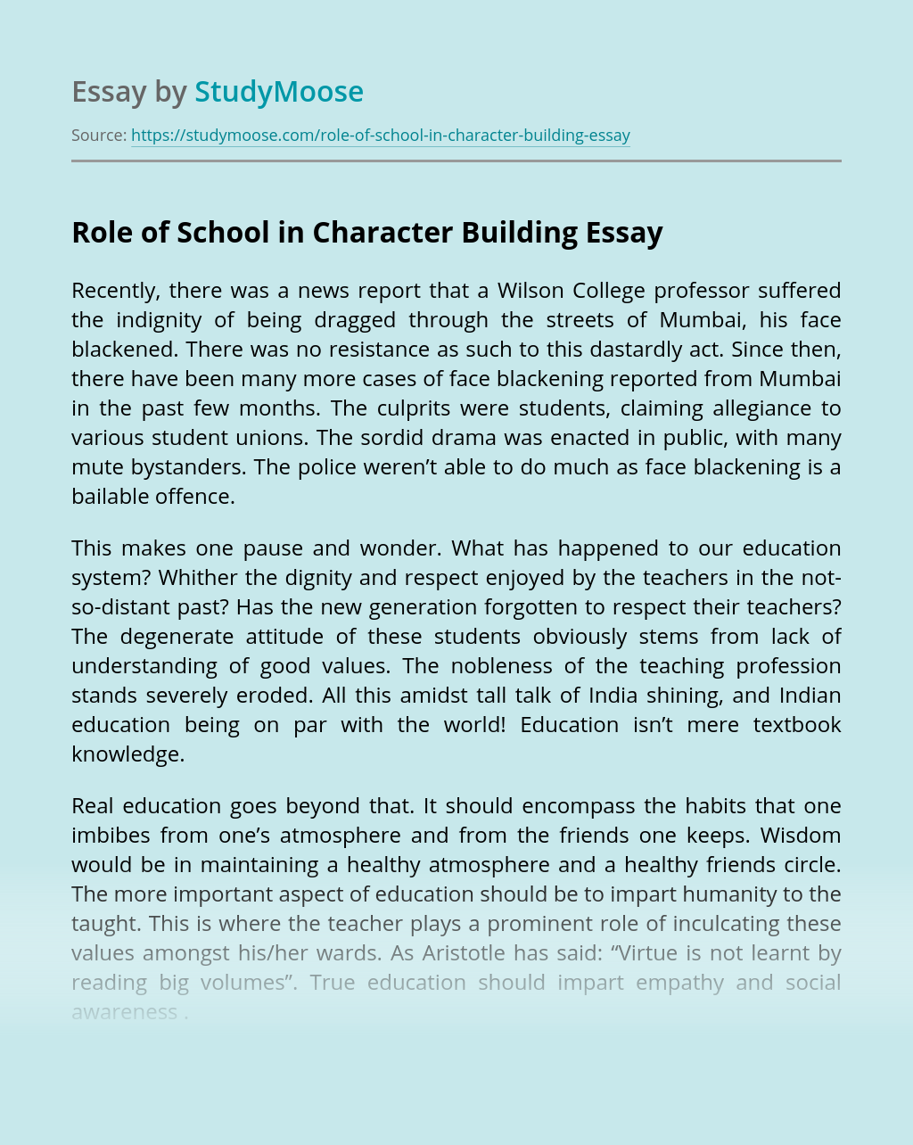 Role of School in Character Building