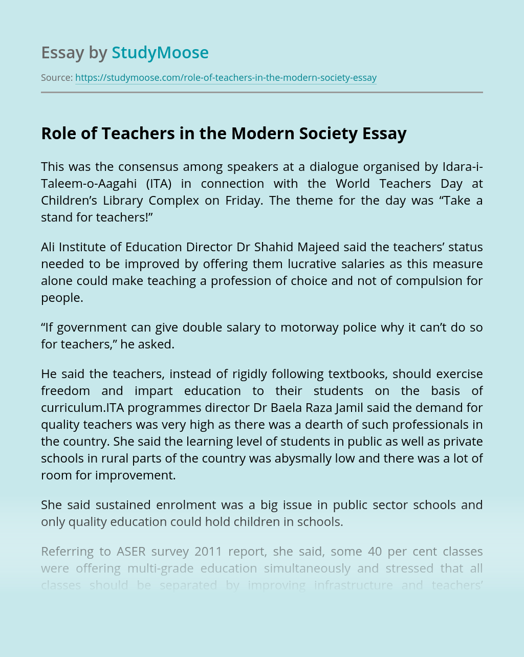 Role of Teachers in the Modern Society
