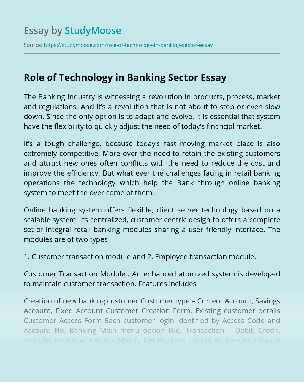 Role of Technology in Banking Sector