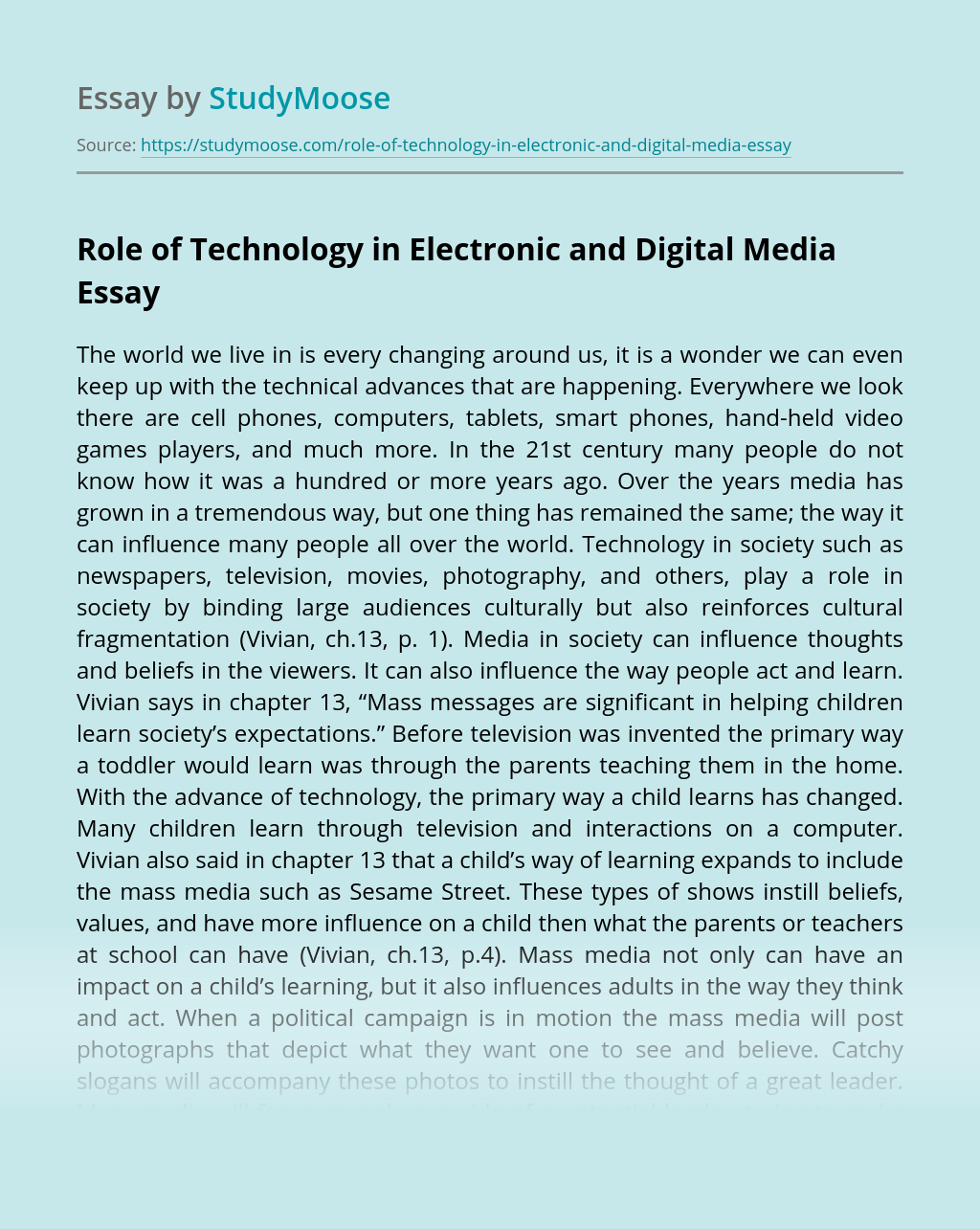 Role of Technology in Electronic and Digital Media