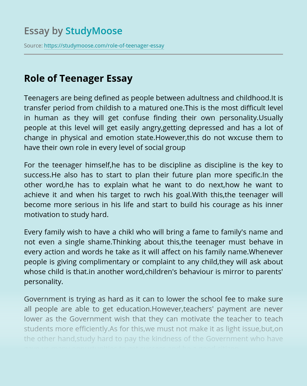Role of Teenager