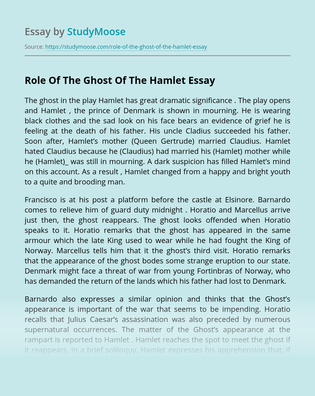 Role Of The Ghost Of The Hamlet