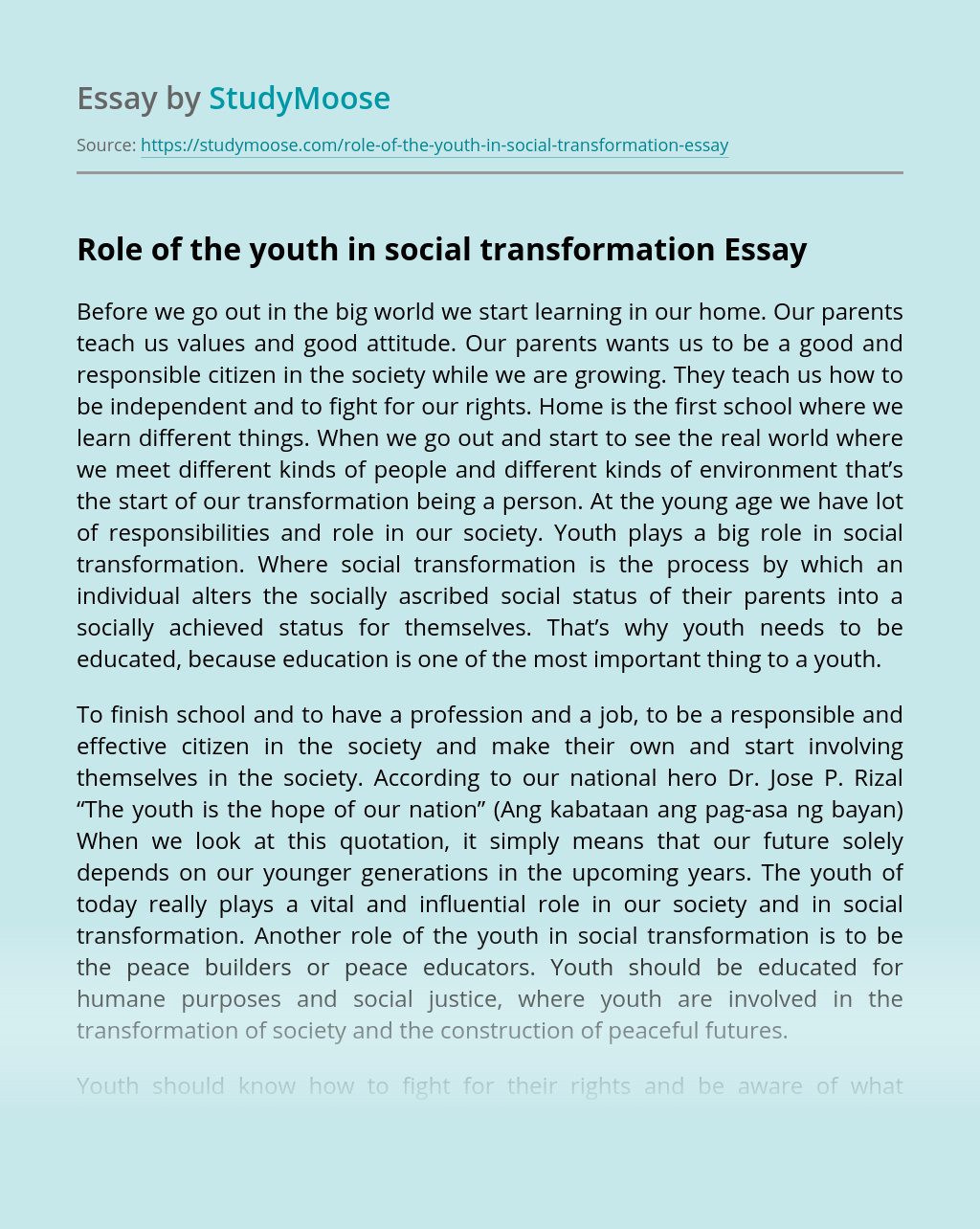 Role of the Youth in Social Transformation