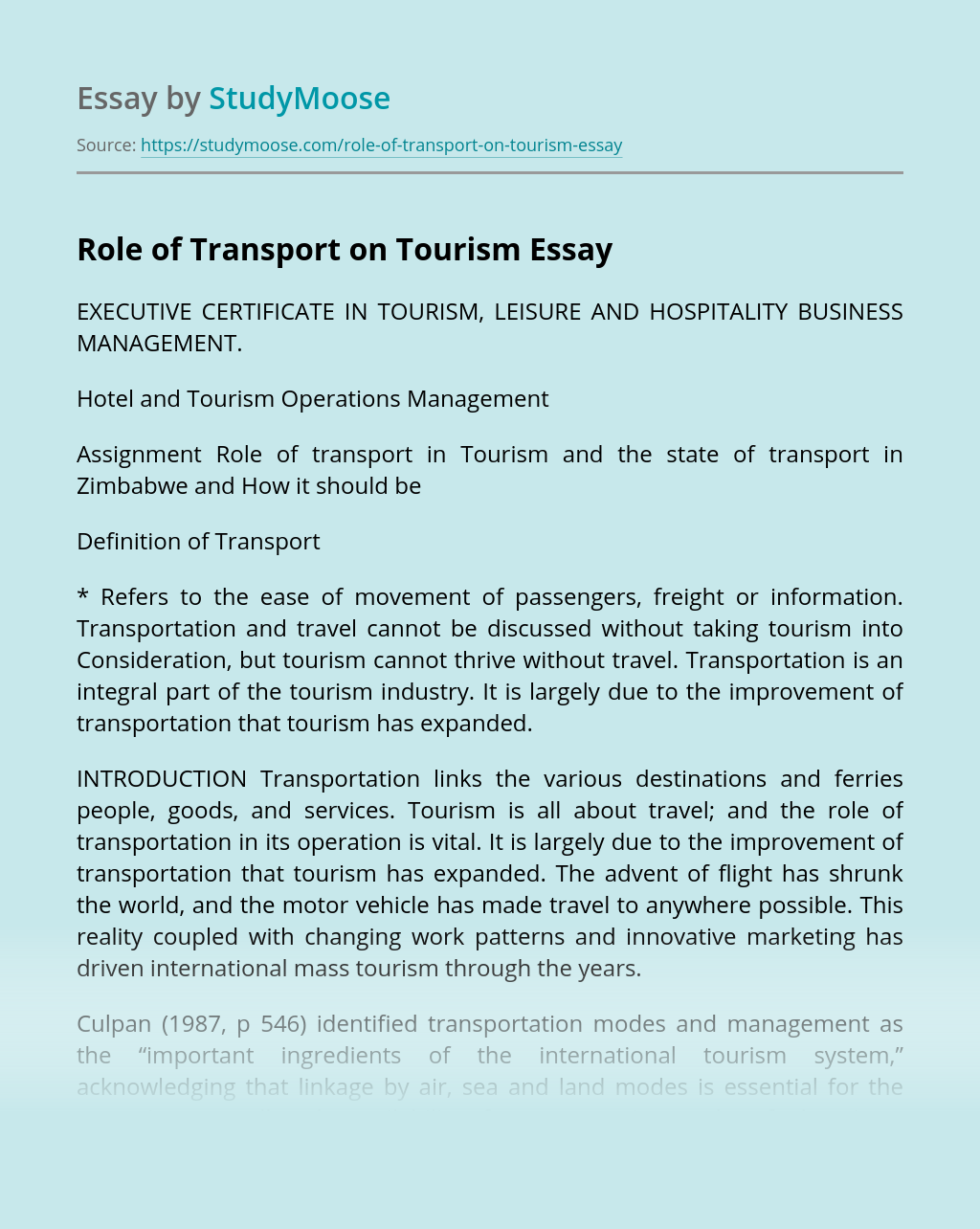 Role of Transport on Tourism