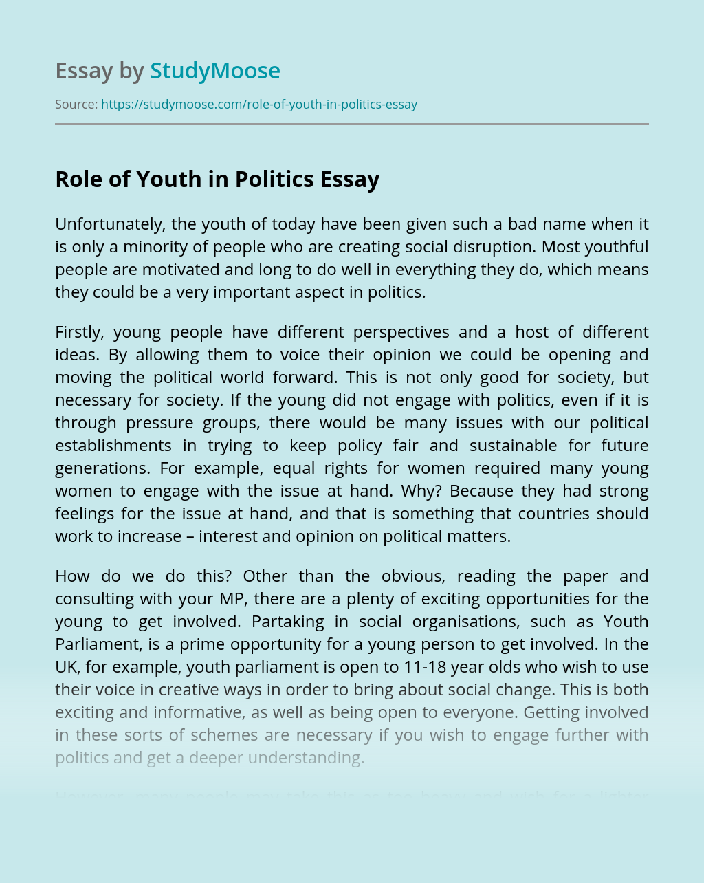 Role of Youth in Politics
