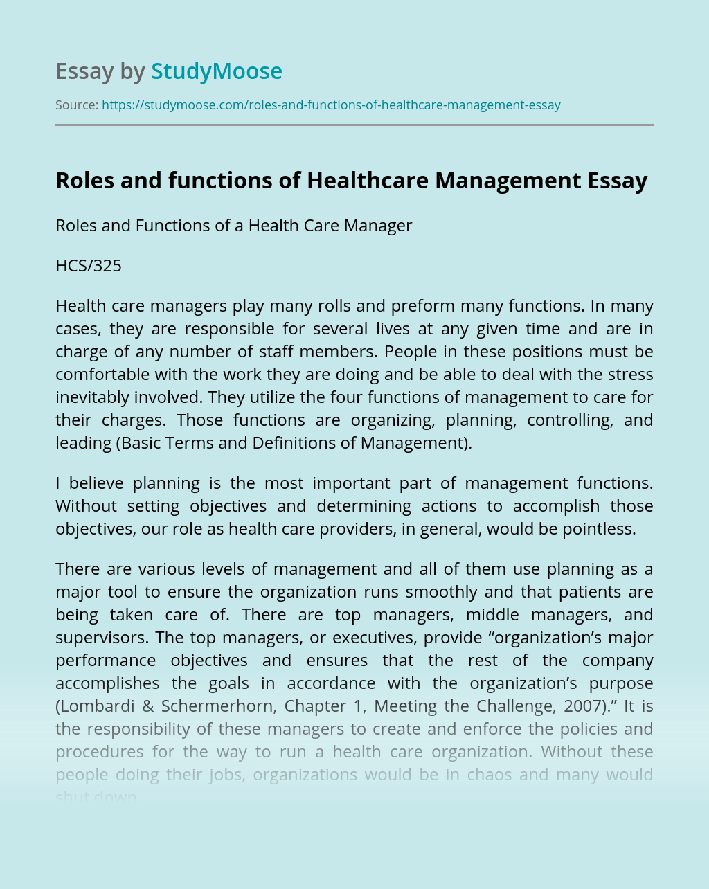 Roles and functions of Healthcare Management
