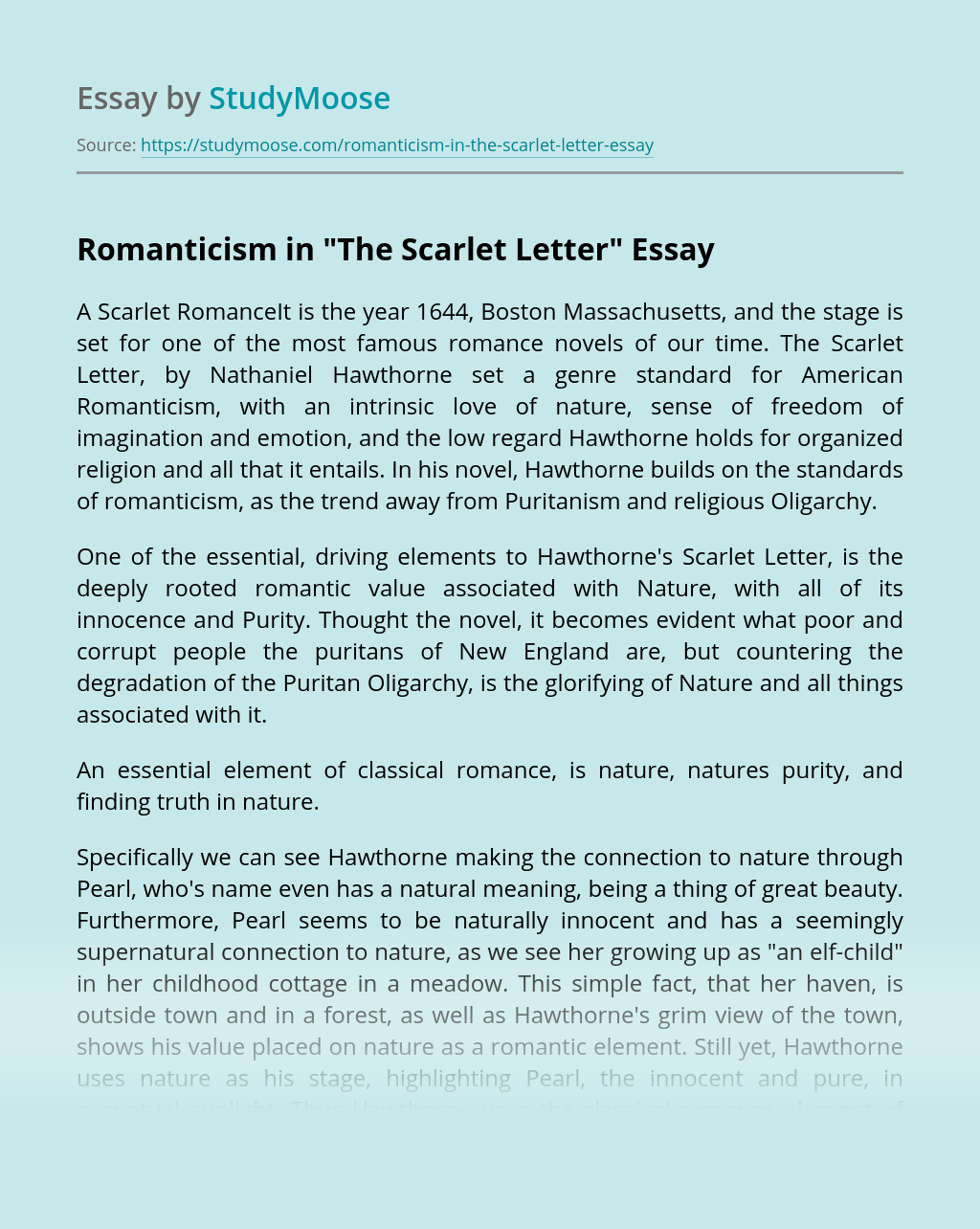 """Romanticism in """"The Scarlet Letter"""""""