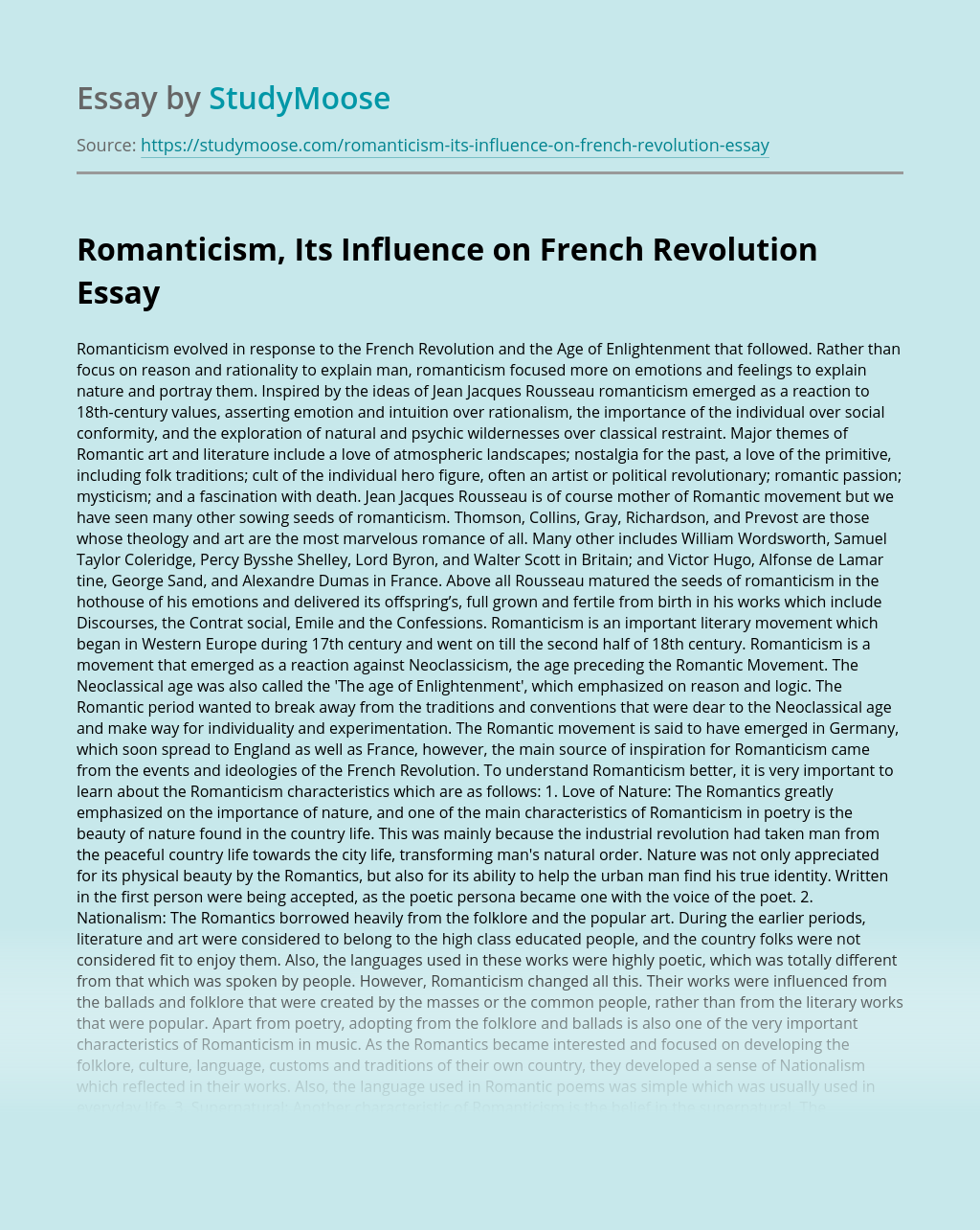 Romanticism, Its Influence on French Revolution