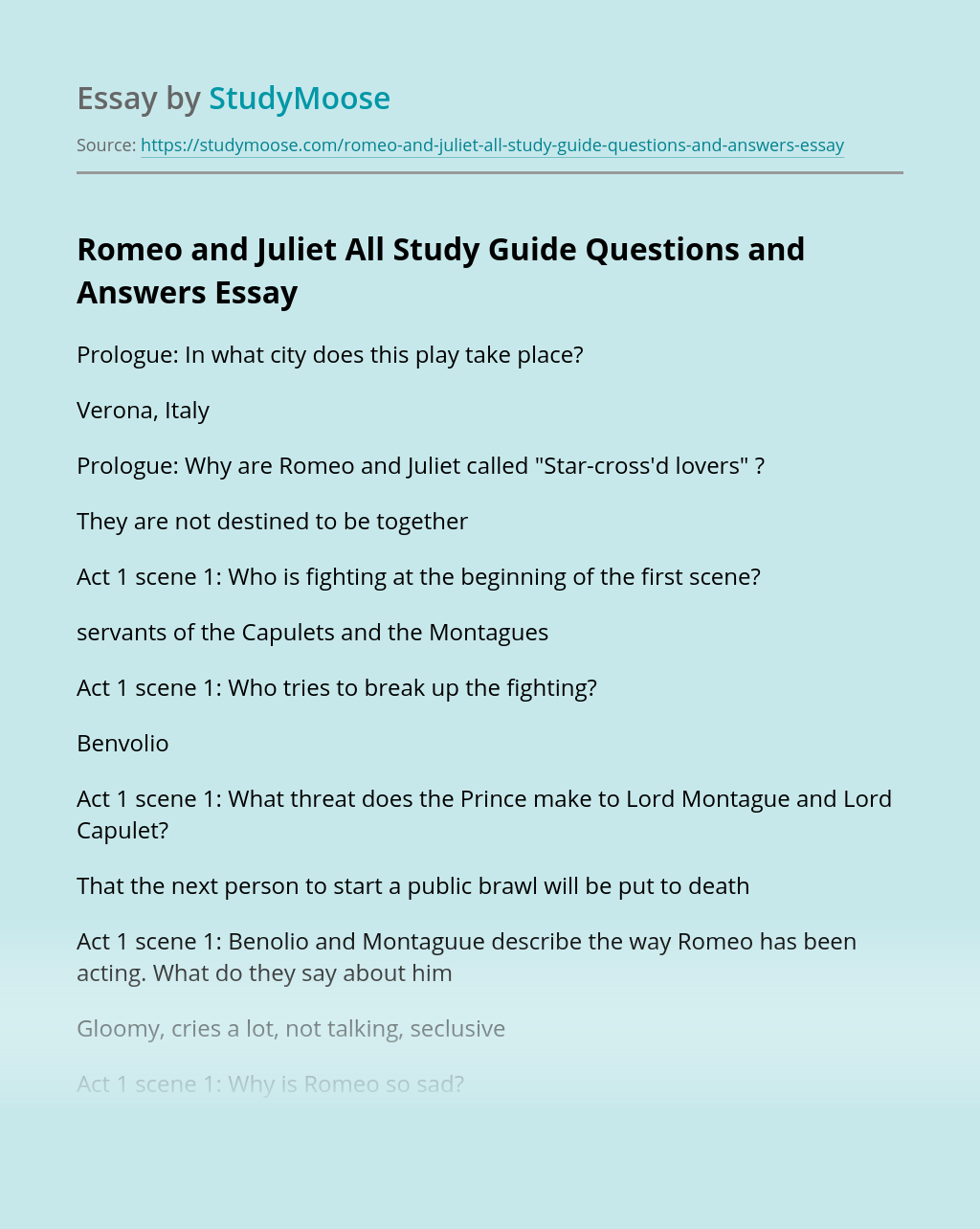 Romeo and Juliet All Study Guide Questions and Answers