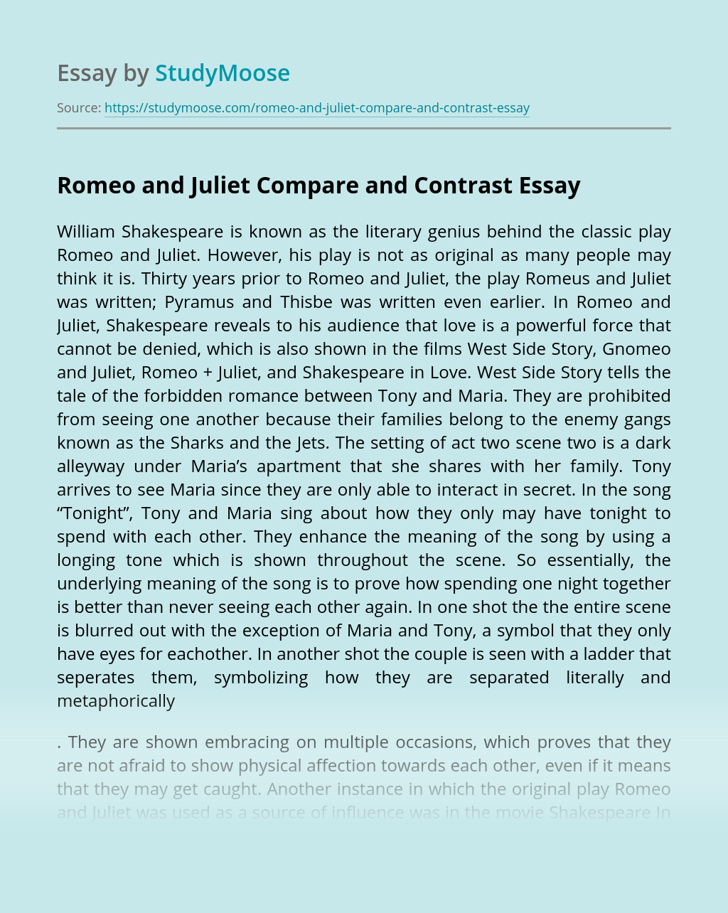 Romeo and Juliet Compare and Contrast