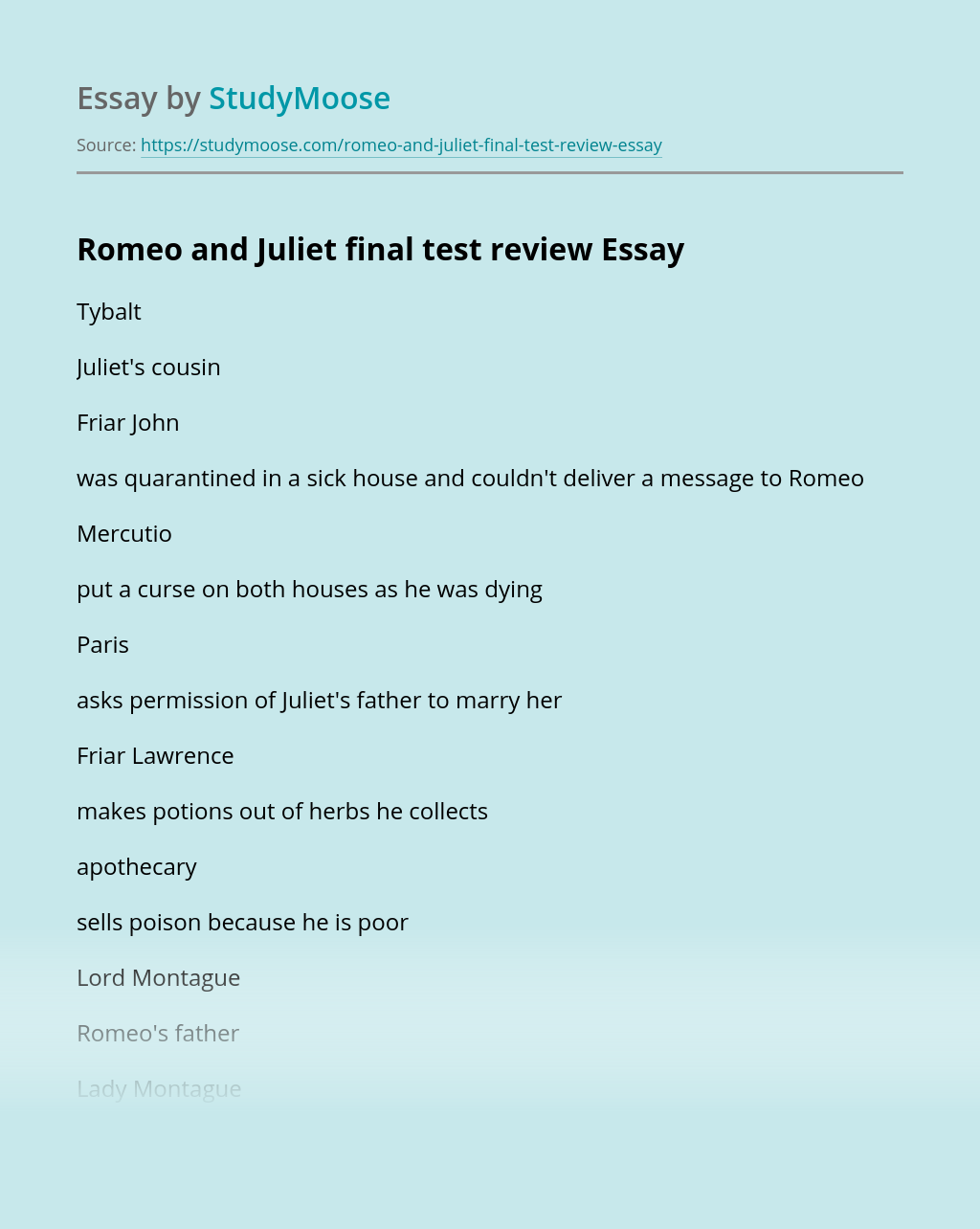 Romeo and Juliet final test review