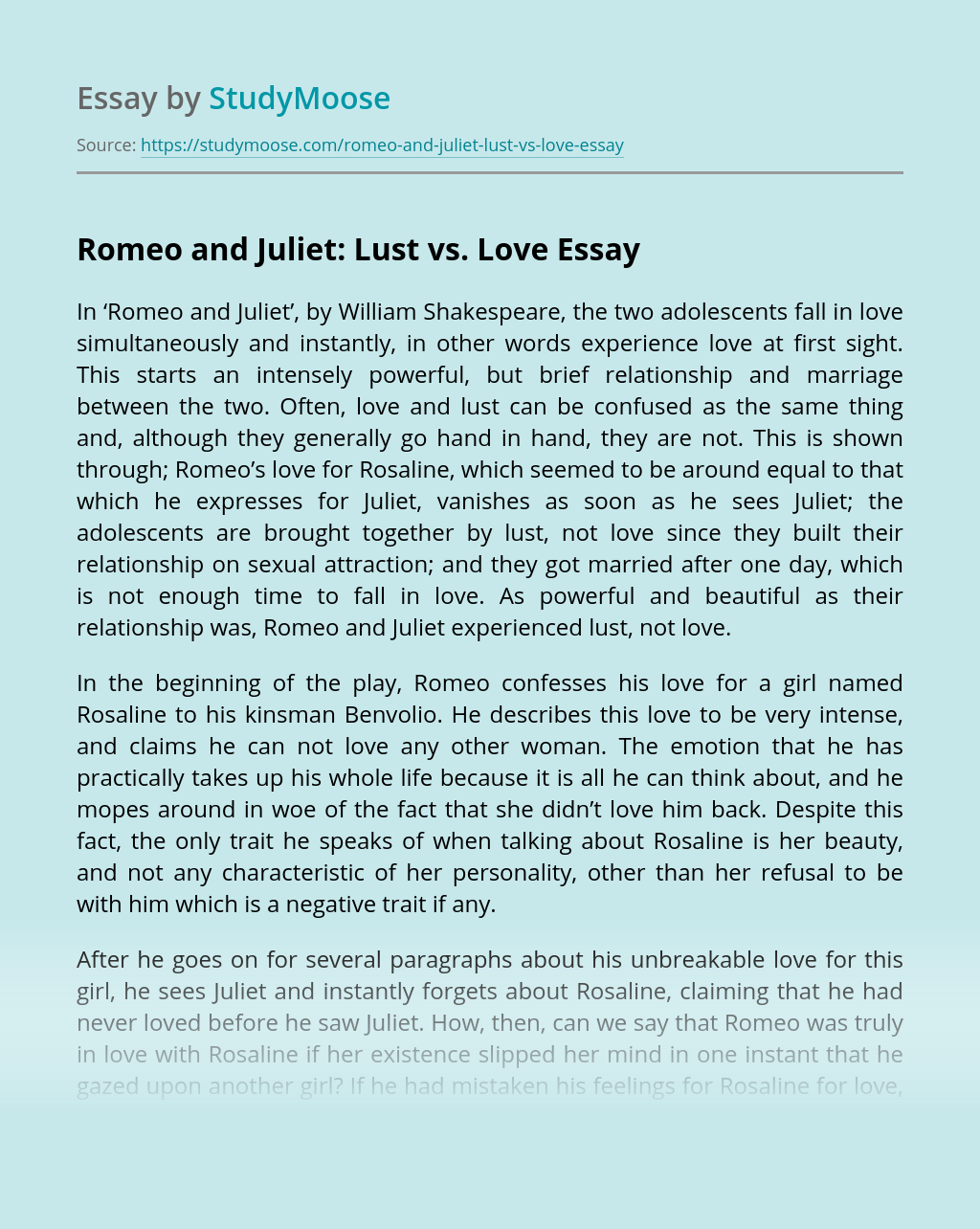 Romeo and Juliet: Lust vs. Love