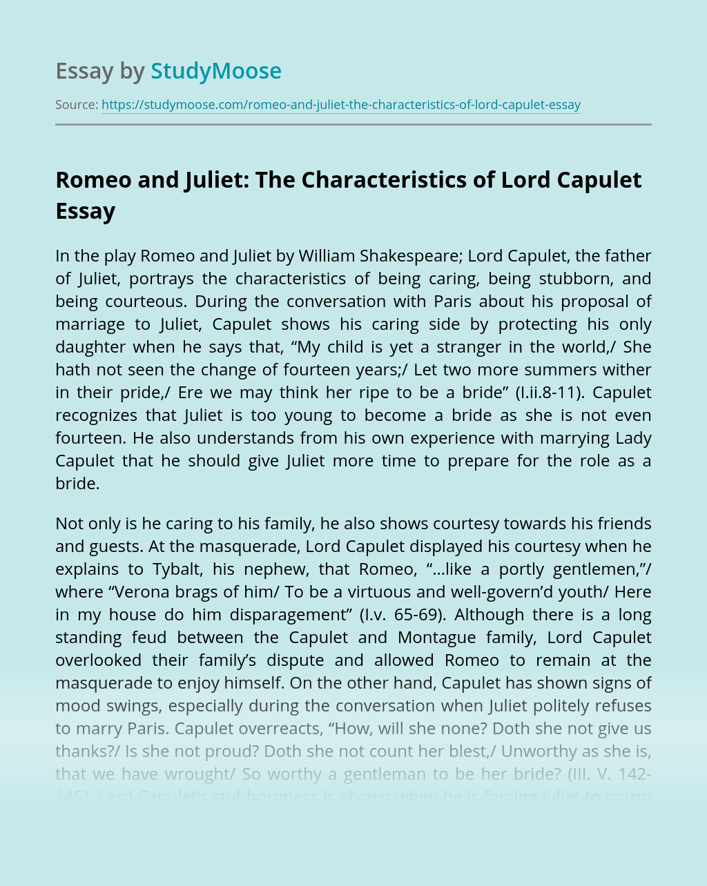 Romeo and Juliet: The Characteristics of Lord Capulet