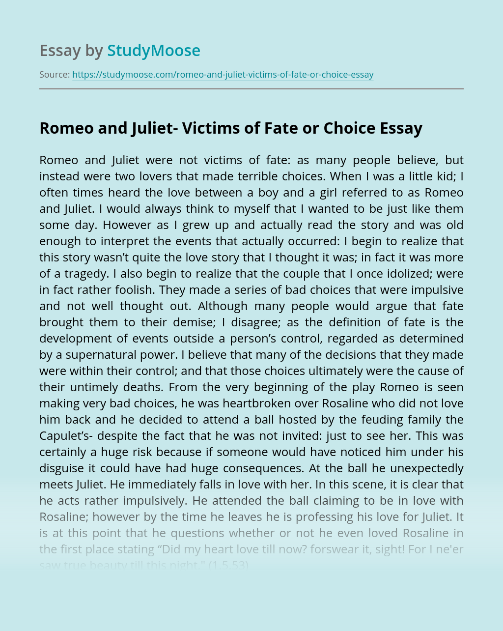 Romeo and Juliet- Victims of Fate or Choice