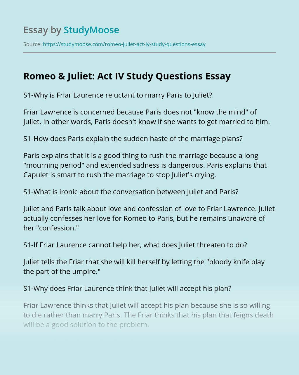 Romeo & Juliet: Act IV Study Questions