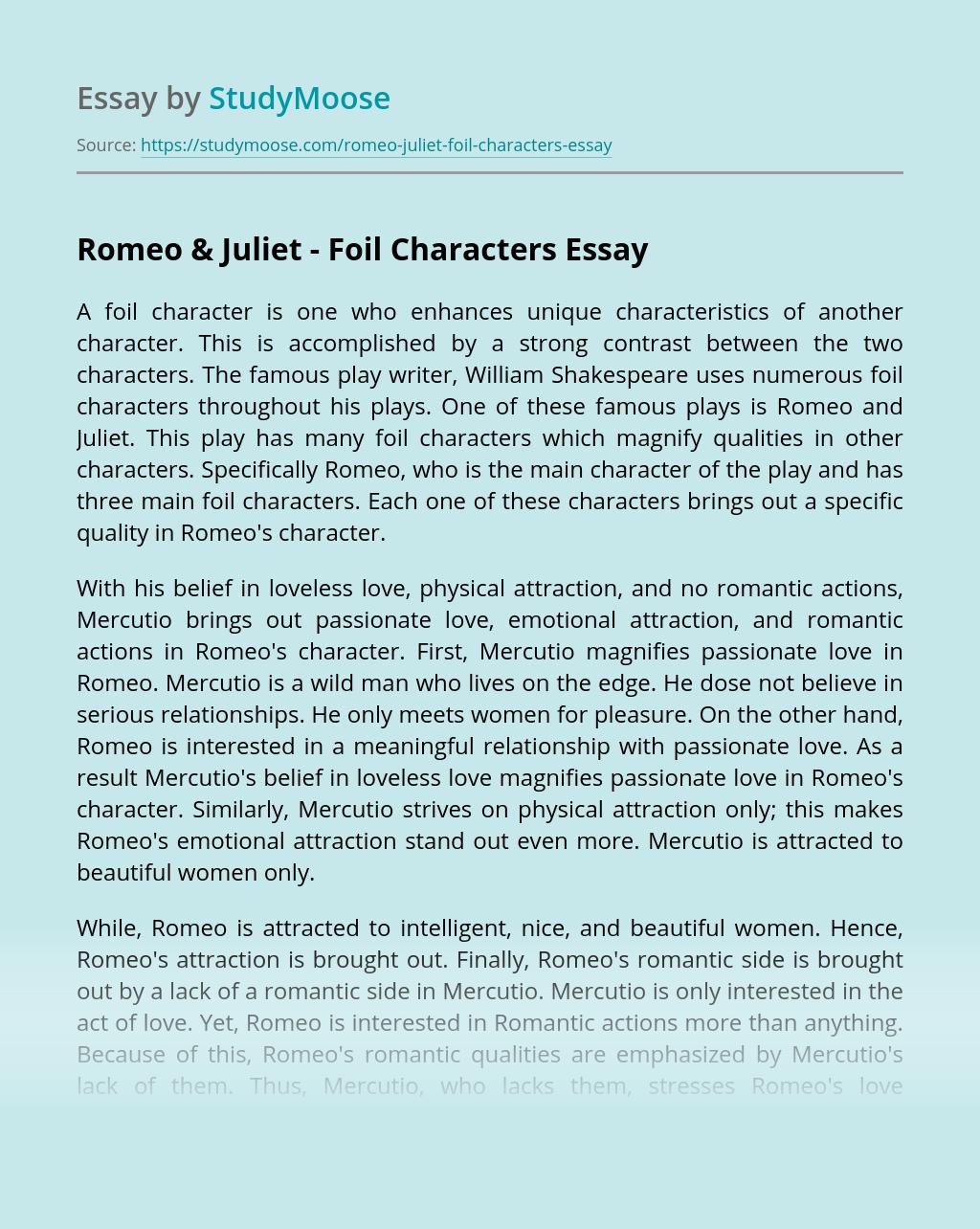 Romeo & Juliet - Foil Characters
