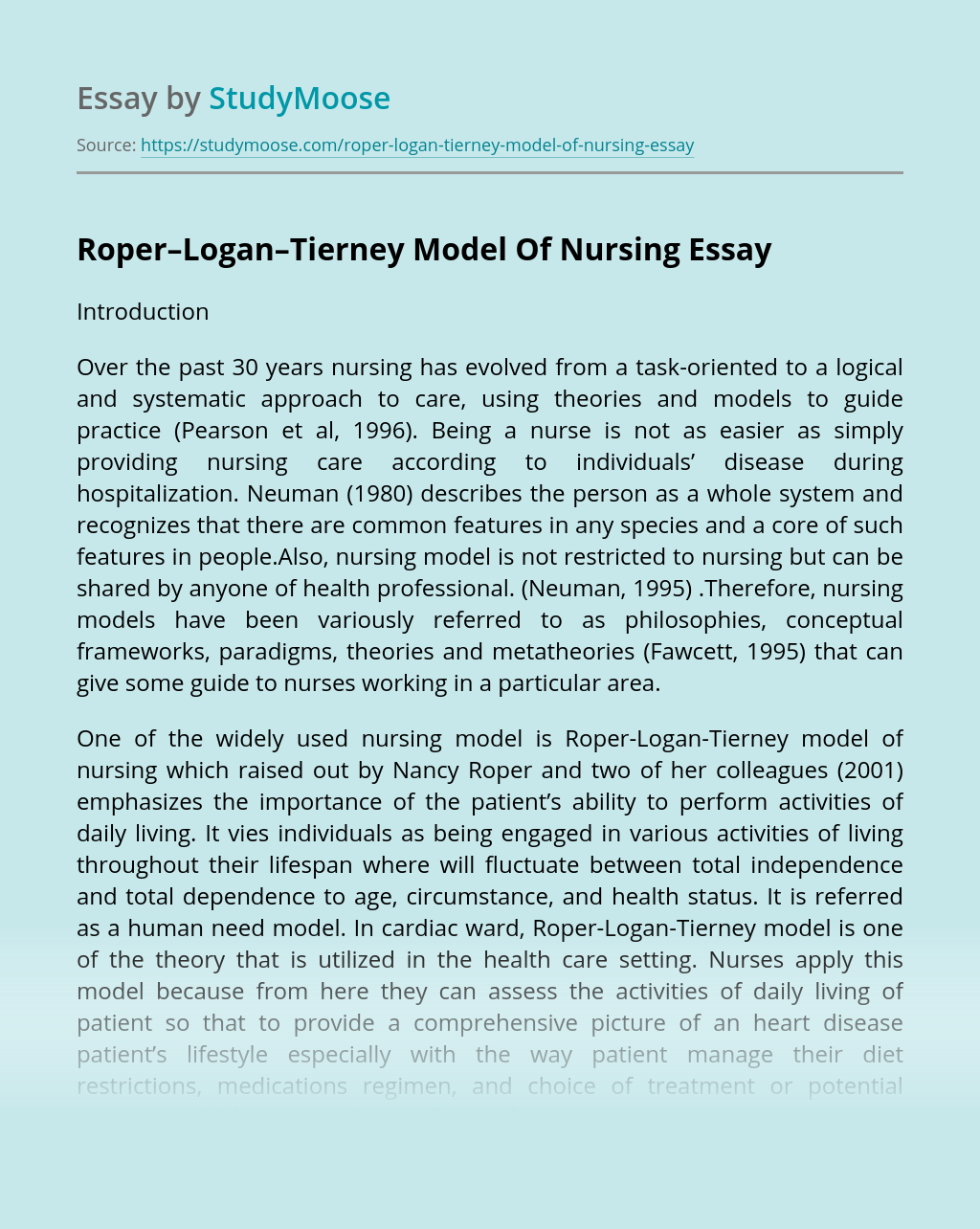 Roper–Logan–Tierney Model Of Nursing