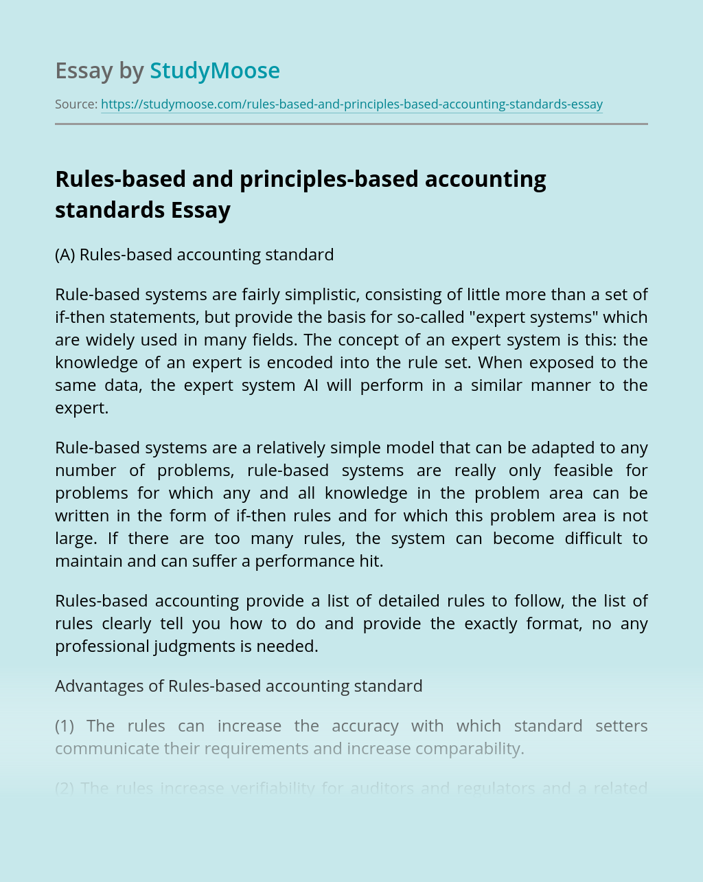Rules-based and principles-based accounting standards