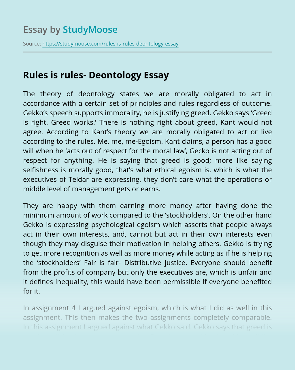 Rules is rules- Deontology