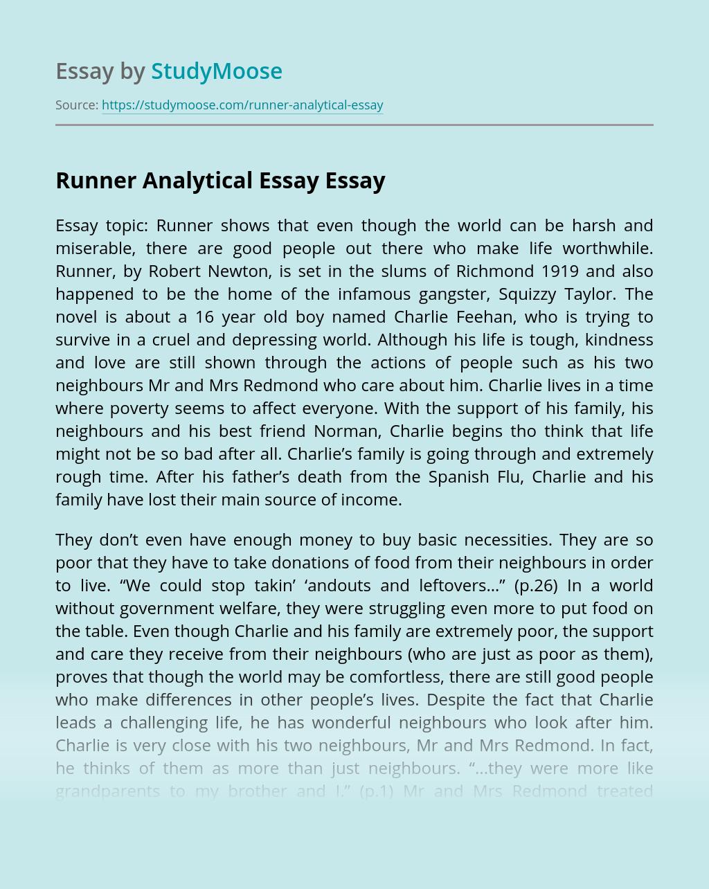 Runner Analytical Essay