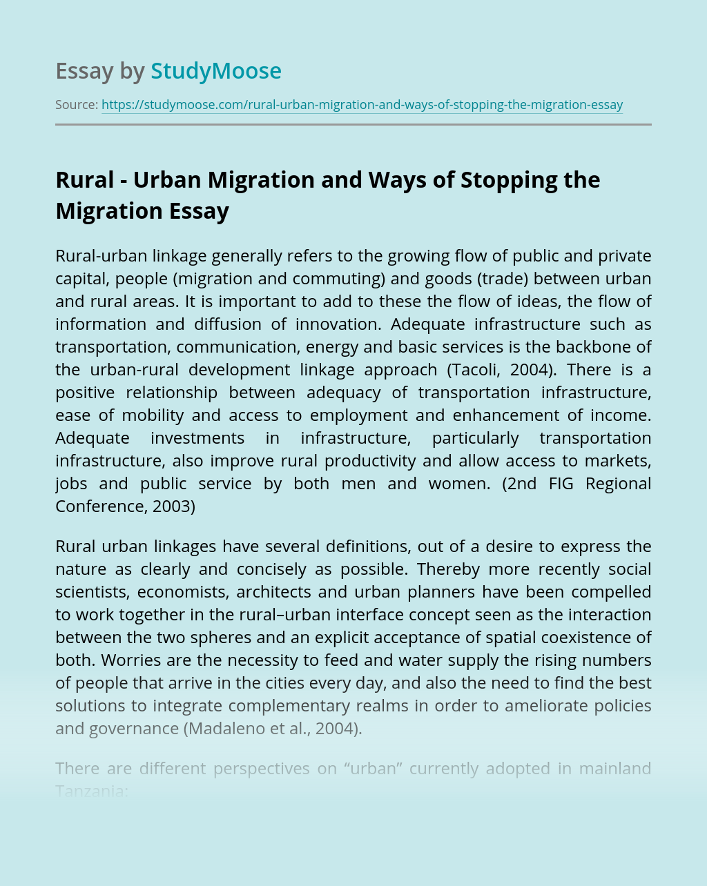 Rural - Urban Migration and Ways of Stopping the Migration