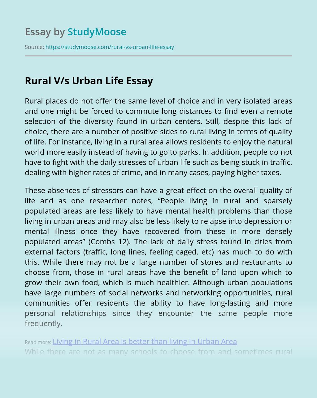 Rural V/s Urban Life