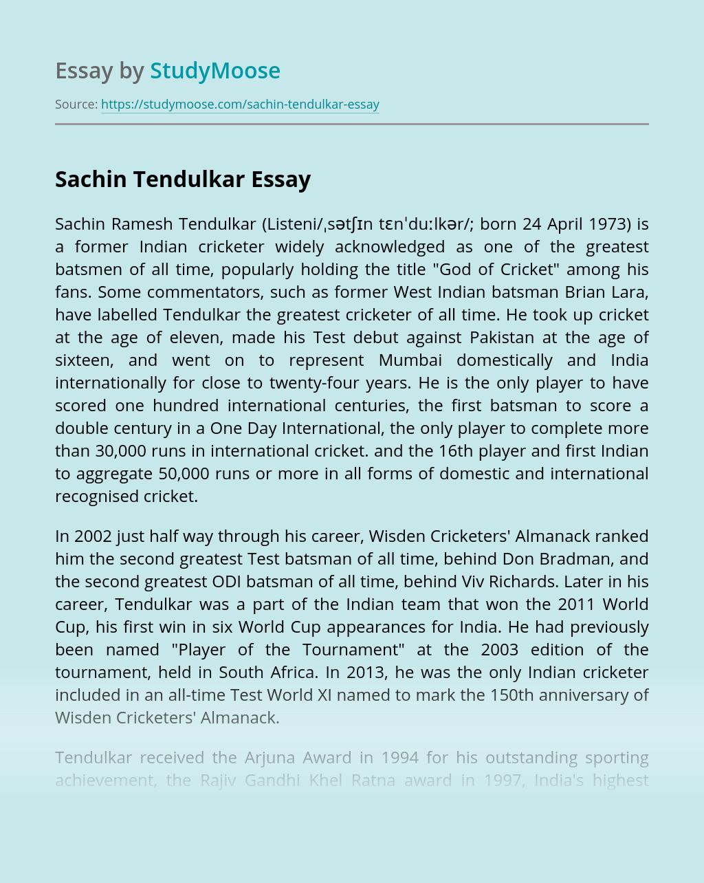 Sachin Tendulkar: Indian Sport Legend