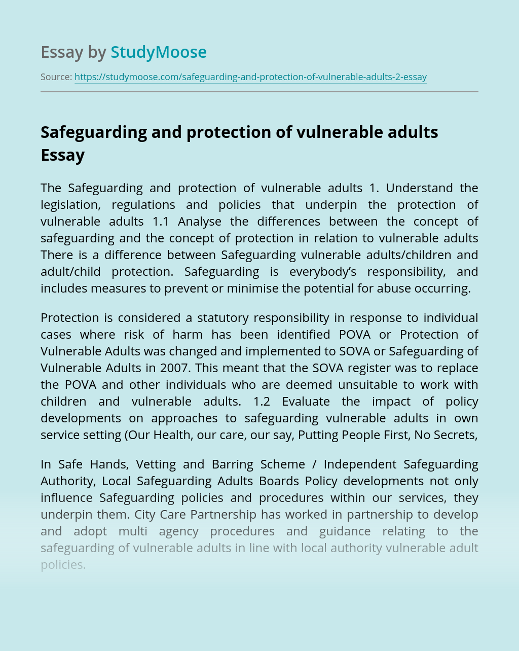 Safeguarding and protection of vulnerable adults