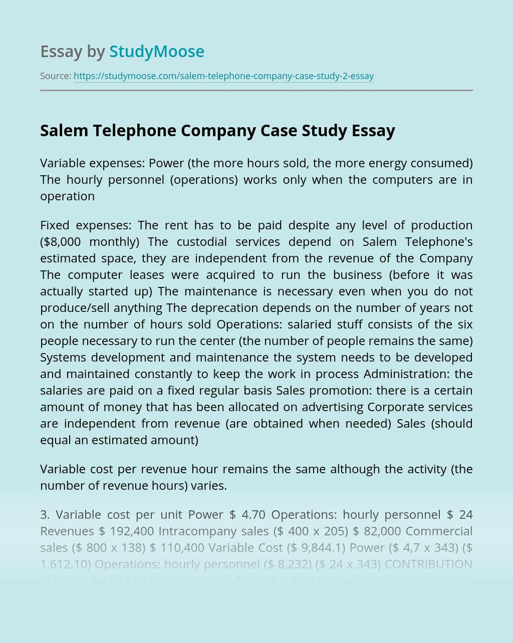 Salem Telephone Company Case Study