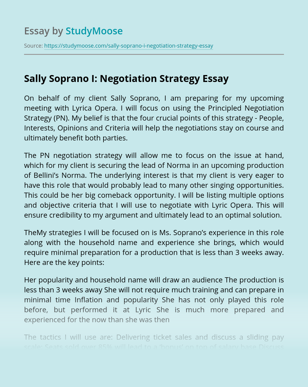 Sally Soprano I: Negotiation Strategy