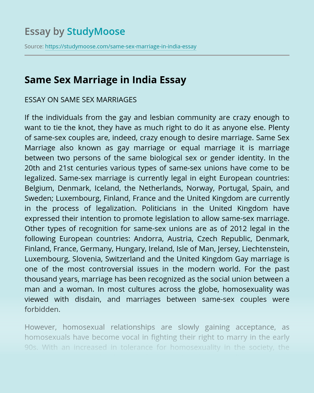 Same Sex Marriage in India