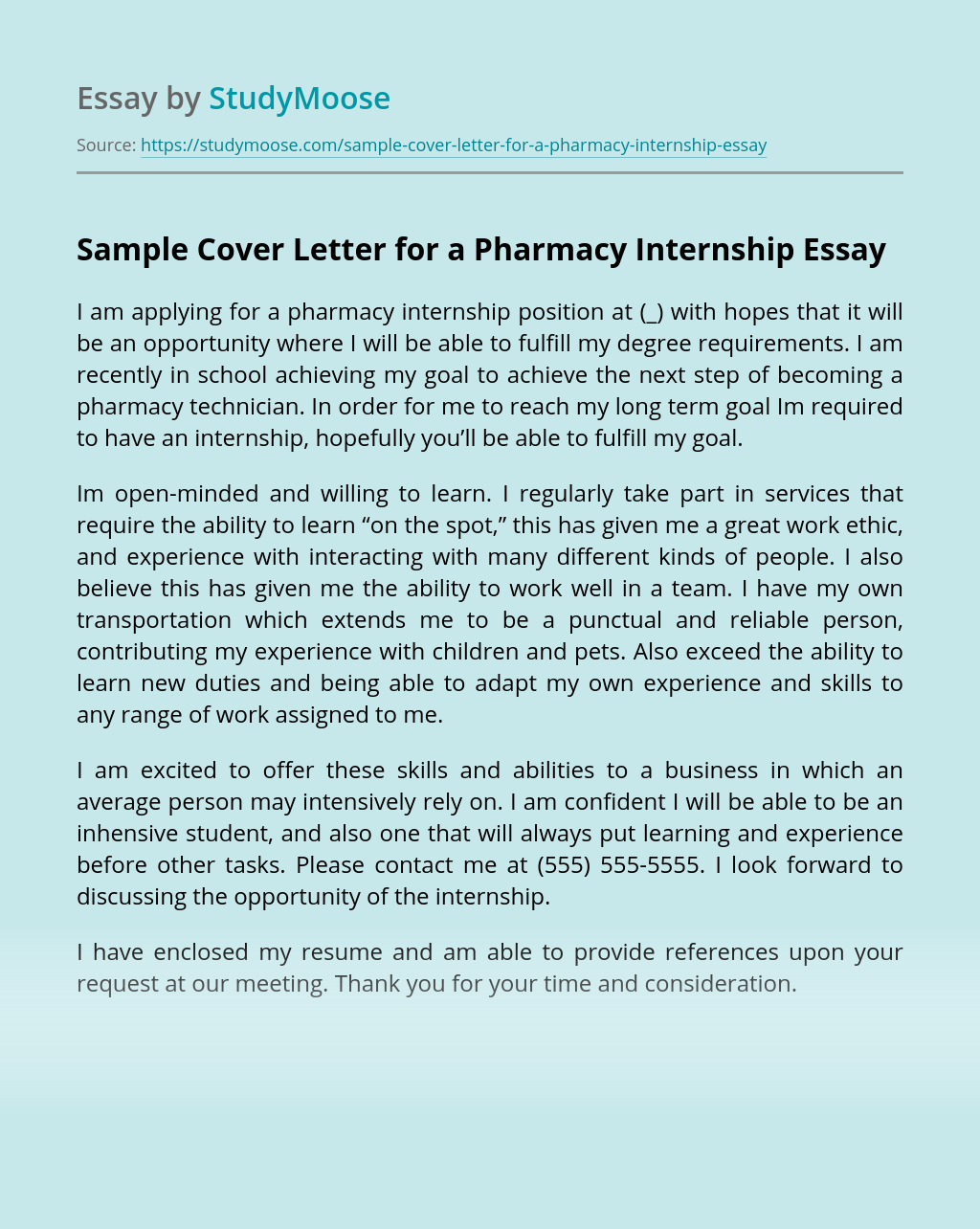 Pharmacy Intern Cover Letter Essay Example