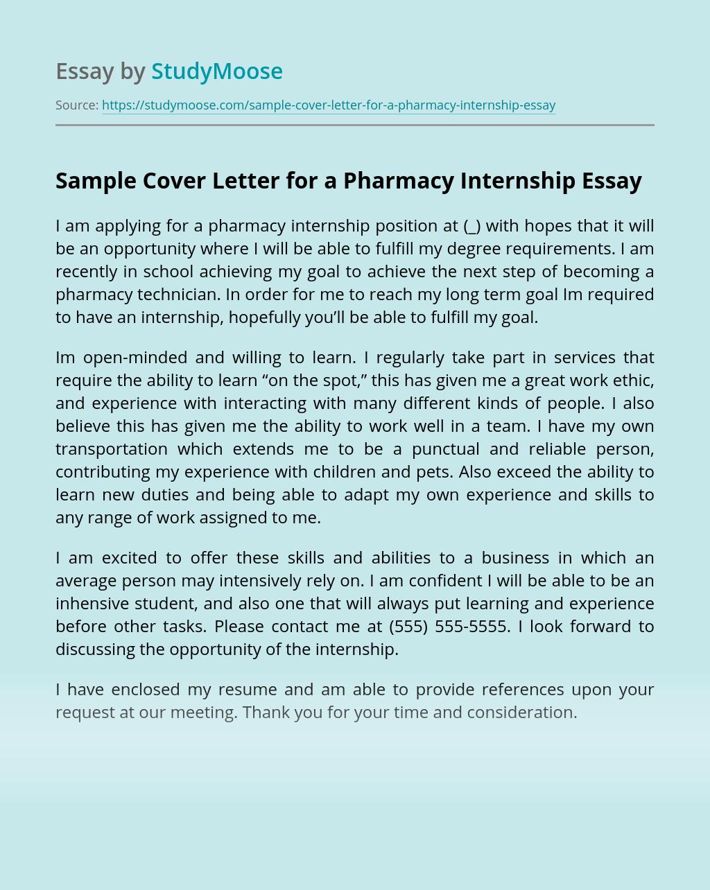 Sample Cover Letter for a Pharmacy Internship