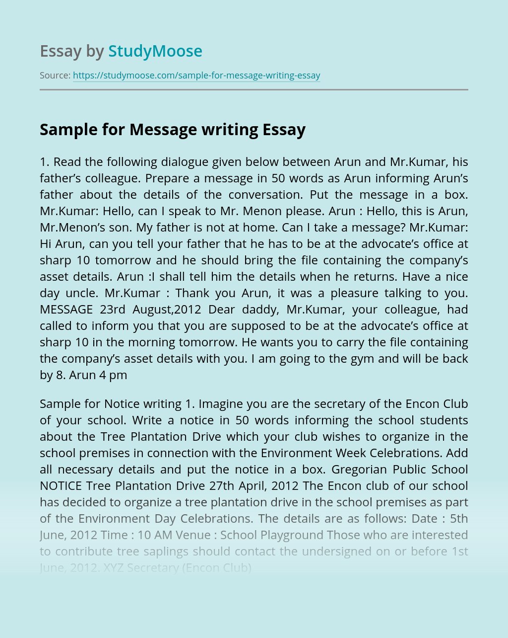 Sample for Message writing
