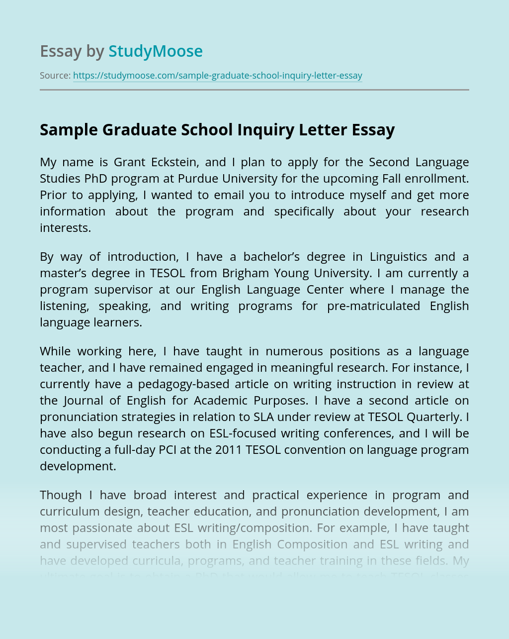 Sample Graduate School Inquiry Letter